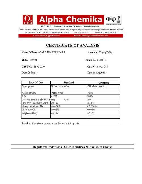Calcium Stearate in Mumbai, Maharashtra, India - ALPHA CHEMIKA