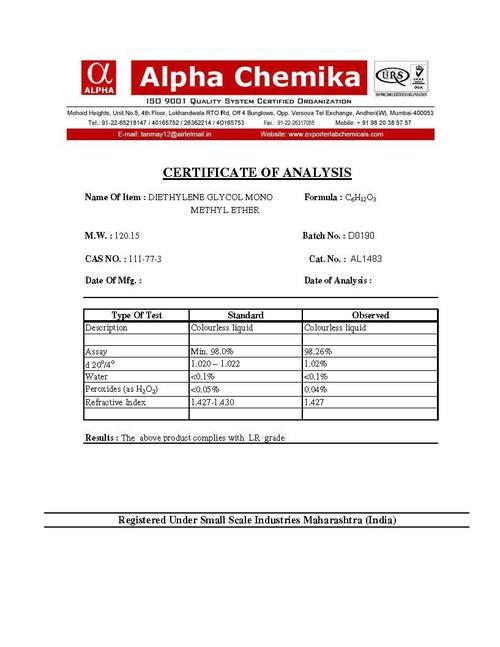 Diethylene Glycol Monomethyl Ether