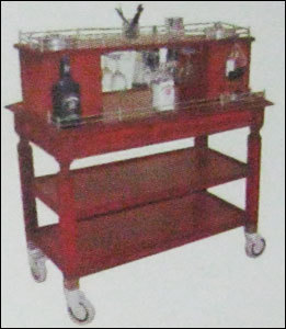 Bar Trolley With Inbuilt Two Ice Buckets Flambe Trolley No-142