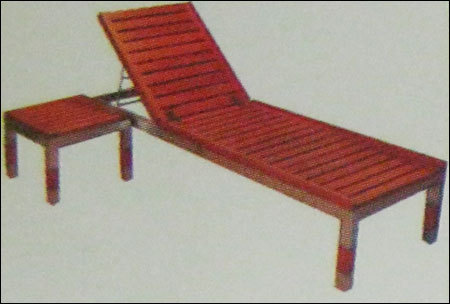 Wooden Lounger With Ss Base-109 (All Weather Proof)