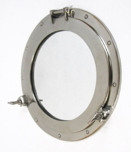 "Large Aluminum Chrome Finish 17"" Ships Porthole Mirror"