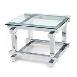 Ss Side Table With Glass Top