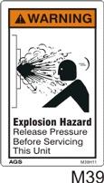 Explosion Hazard Safety Decals