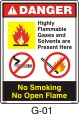 No Open Flame Safety Decals