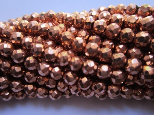 Copper Coated Pyrite Faceted Round Beads 13 Inch 4 Mm