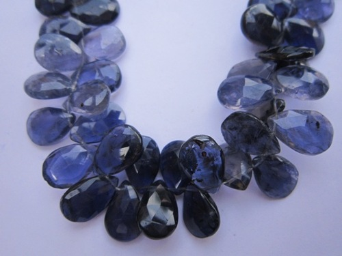 Iolite Shaded Faceted Almond 8x11 To 9x12mm 8 Inch Beads