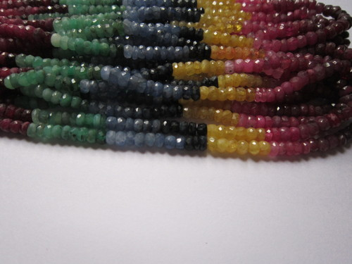 Multi Sapphire 15 Inch 4mm-4.5mm Faceted Roundell Beads