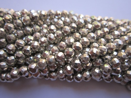 Silver Coated Pyrite Faceted Round Beads 13 Inch 4mm