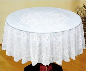 White Crocheted Vinyl Lace Table Cover