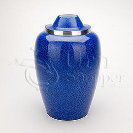 Cobalt Blue Alloy Brass Metal Cremation Urn