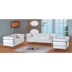 Contemporary White Full Leather Sofa Set