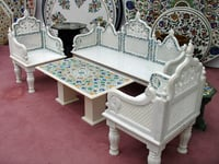 White Marble Sofa Set With Table