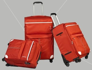 Orange Trolley Carry-on Spinner Soft Zipper Fabric Luggage