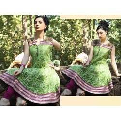 Anarkali White Printed Green Kurtis