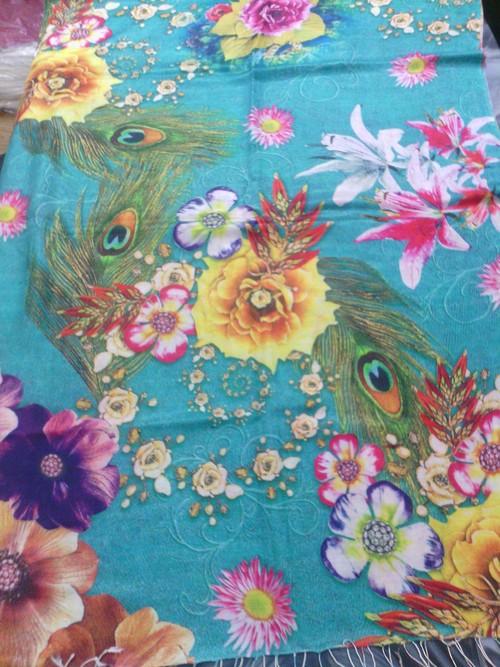 Floral Print Silk Shawls