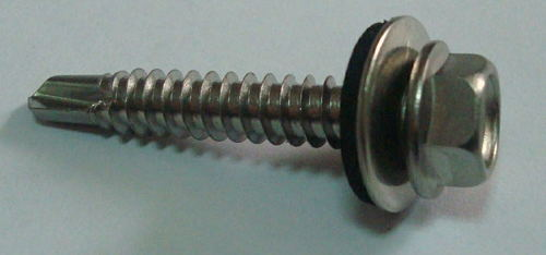 Hex Flange Head Self Drilling Screws With EPDM Rubber Washer in