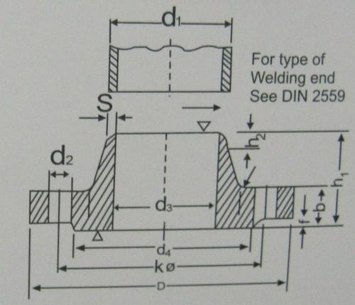 Welding Neck Flanges For Nominal Pressure 10