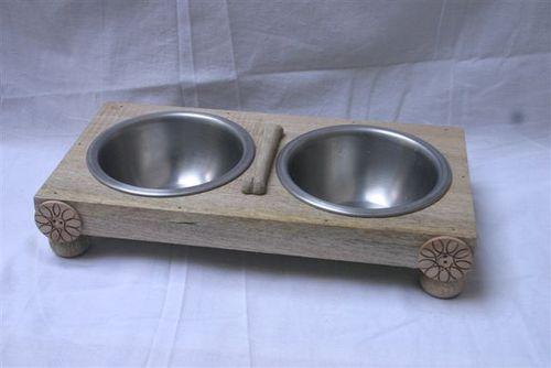 Indian Wood Pet Bowl