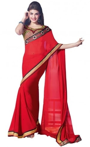 Aparnaa Red Georgette Saree With Stone Work & Fancy Lace Border