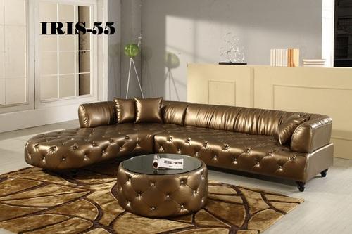 Astonishing Golden Finish Corner Leather Sofa Set Iris 55 At Best Beatyapartments Chair Design Images Beatyapartmentscom
