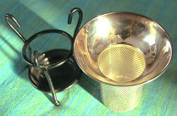 Brass Tea Strainer In The Shape Of A Cup With Base Stand