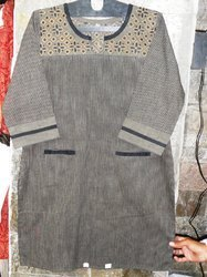 Handloom Stripe with Machine Embroidered Pocket Design Kurti