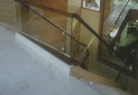 Glass with Wooden Handrail