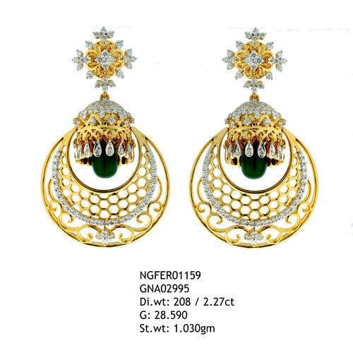 170226e48053 18kt Gold Diamond Studded Gold Earrings - Gurukrupa Exports