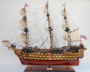 HMS Victory Painted-Wooden Model Boat