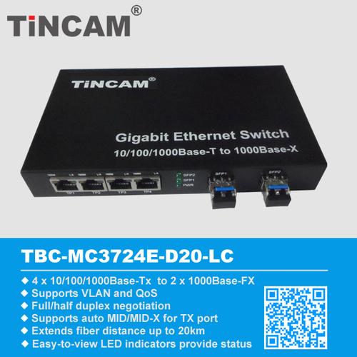 4 RJ45 2 SFP Ports gigabit ethernet optical fiber switch at