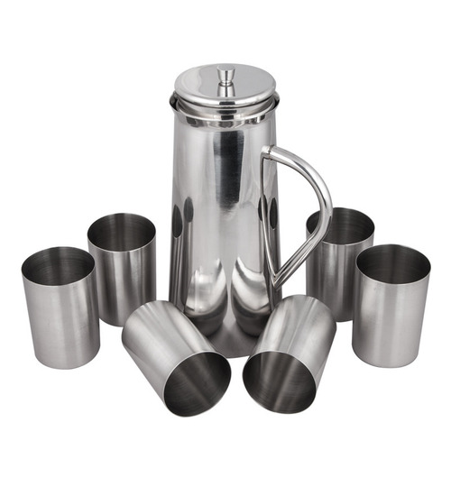 Stainless Steel Glass Water Jug Set
