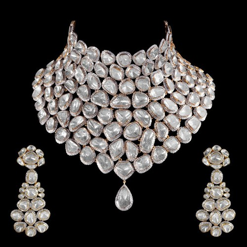 jewellery diamond uncut designs earrings necklace neck set and