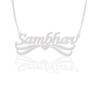 Silver Plated Heart Personalized Name Necklace