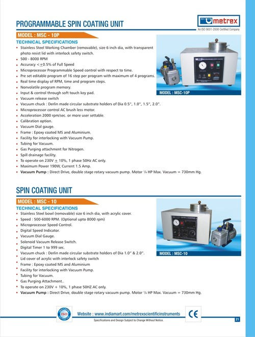 Programmable Spin Coating Unit (Model MSC-10P, MSC-10)