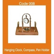 Hanging Clock With Compass And Pen Holder