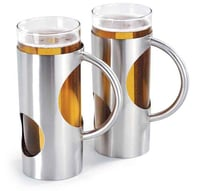 Arttdinox Stainless Steel with Glass Beer Mug Set of 2