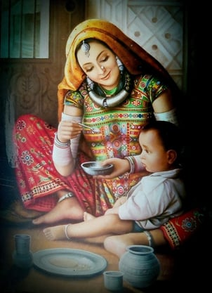 Rajasthani Lady With Child Painting