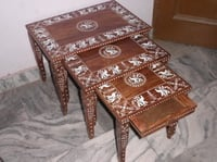 Wooden White Inlaid Nest Set Table