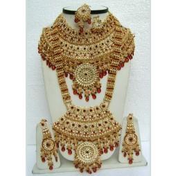 Maroon Heavy Golden Base Bridal Designer Necklace Set