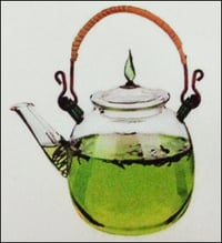 All Glass Teapot With Leaf