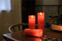 Electric Moving Wick LED Candle Set With Timer