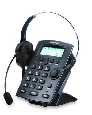 Call Center Caller ID Telephone Dial Pad With Monaural Headset