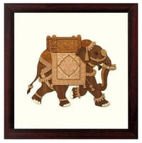 "Wooden Wall Hangings Framed - Elephant - 8"" X 8"""