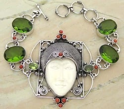 Coral And Peridot Bracelets