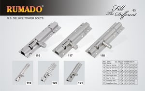 Stainless Steel Deluxe Tower Bolts