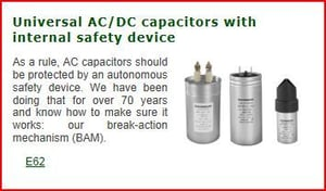 Universal AC/DC Capacitors With Internal Safety Device