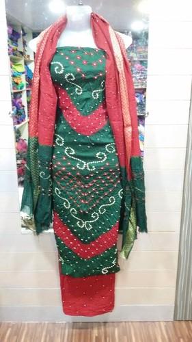 Satin Bandhani Cotton Salwar Kameez