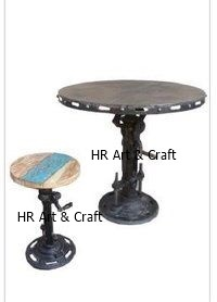 Iron Adjustable Height Crank Table With Stool
