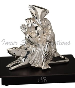 999 Silver Ganesh Sitting On Mouse Statue