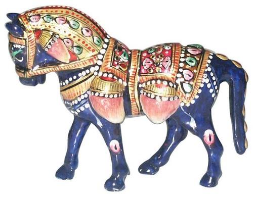 Metal Meena Kari Horse Figurine